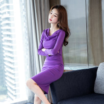 Dress Winter of 2018 violet 2XL S M L XL Mid length dress singleton  Long sleeves commute Pile collar High waist Solid color zipper One pace skirt routine 25-29 years old Zhiyu Korean version 8121#-1 More than 95% polyester fiber Polyester 95% polyurethane elastic fiber (spandex) 5%