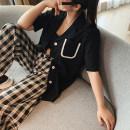 shirt black L,XL,2XL,3XL,4XL Summer 2020 polyester fiber 96% and above Short sleeve commute Short style (40cm < length ≤ 50cm) other puff sleeve 18-24 years old High waist type Korean version M70T194