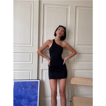 Dress Summer 2021 black S. M, l, s [pre-sale 7 days], m [pre-sale 7 days], l [pre-sale 7 days] Short skirt singleton  street Solid color Single breasted 18-24 years old Type X More than 95% cotton Europe and America