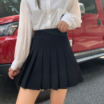 skirt Spring 2021 M,L,XL,2XL,3XL,4XL Black, gray, white, coffee Short skirt Versatile High waist Pleated skirt Solid color Type A 18-24 years old polyester fiber Pleated, zipper