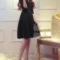 Dress Spring of 2019 Black Quarter Sleeve 828, red Quarter Sleeve 828, long sleeve red 828, Long Sleeve Black 828 S,M,L,XL,2XL,3XL %? Short skirt Long sleeves High waist Solid color Princess Dress 18-24 years old Type A QKC6675