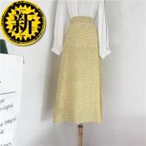 skirt Summer of 2019 One size fits all elastic waist Black, white, yellow, light green longuette fresh High waist A-line skirt Decor Type A 18-24 years old Chiffon Bowknot, zipper, stitching, printing