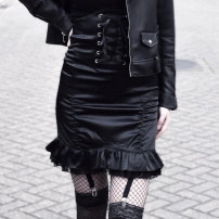 skirt Autumn of 2018 S,M,L black Short skirt street High waist A-line skirt Solid color Type A 18-24 years old T1417 81% (inclusive) - 90% (inclusive) Other / other polyester fiber Fold, strap Europe and America