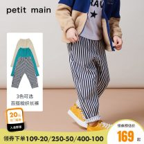 trousers PETIT MAIN male 90cm 100cm 110cm 120cm 130cm 140cm Navy light mikaki snow blue green spring and autumn trousers leisure time There are models in the real shooting Casual pants Leather belt middle-waisted cotton Don't open the crotch Cotton 98.8% polyurethane elastic fiber (spandex) 1.2%