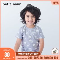 T-shirt PETIT MAIN 80cm 90cm 100cm 110cm 120cm 130cm male summer Short sleeve Crew neck There are models in the real shooting cotton other Cotton 96.1% polyurethane elastic fiber (spandex) 3.9% Class A Summer of 2019