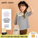 T-shirt Tibetan green-50 lilac-63 PETIT MAIN 90cm 100cm 110cm 120cm 130cm 140cm female spring and autumn Long sleeves Crew neck lady There are models in the real shooting nothing Pure cotton (100% cotton content) stripe Cotton 100% Class A Autumn of 2019