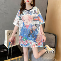 Women's large Summer 2021 Picture color Average size singleton  commute easy Socket Short sleeve Cartoon animation Korean version Crew neck Medium length Three dimensional cutting routine Wild goose bean 18-24 years old Lace stitching Medium length Polyethylene terephthalate (polyester) 100%