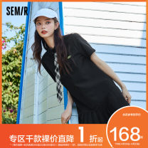Dress Summer 2021 Black 9000 155/80A/S 160/84A/M 165/88A/L 170/92A/XL Mid length dress singleton  Short sleeve commute square neck middle-waisted letter other A-line skirt routine Others 18-24 years old Type A Semir / SEMA Simplicity 10-9321114006 More than 95% other polyester fiber