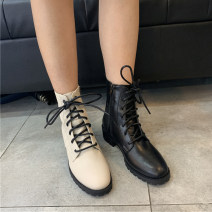 Boots 35,36,37,38,39,40, the size of Korean shoes is too small, it is recommended to consult customer service PU Other / other Middle heel (3-5cm) Thick heel PU Short tube Round head PU PU Autumn 2020 Side zipper Simplicity rubber Solid color Tooling boots Adhesive shoes PU Youth (18-40 years old)