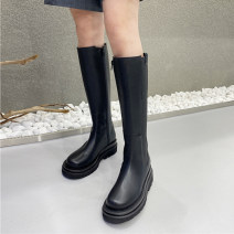 Boots PU Other / other Middle heel (3-5cm) Thick heel PU High tube Square head PU PU Autumn 2020 Side zipper Simplicity rubber Solid color Fashion boots Adhesive shoes PU Youth (18-40 years old) Shaving