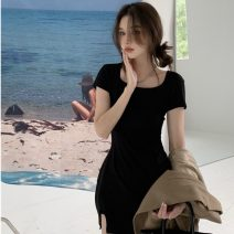 Dress Summer 2021 black Average size Short skirt singleton  Short sleeve commute square neck High waist Solid color Socket A-line skirt routine Others 18-24 years old Type A Korean version