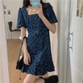 Dress Summer 2021 Dark blue S,M,L Short skirt singleton  Short sleeve commute square neck High waist Leopard Print A-line skirt puff sleeve Others 18-24 years old Type A Korean version