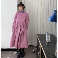Dress Winter 2020 Black, pink Average size Mid length dress singleton  Long sleeves commute Crew neck Loose waist Solid color Socket Princess Dress other 18-24 years old Korean version