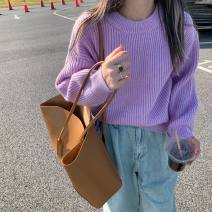 sweater Winter 2020 Average size Purple, yellow Long sleeves Socket singleton  Regular other 95% and above Crew neck thickening commute routine Solid color Straight cylinder Keep warm and warm 18-24 years old