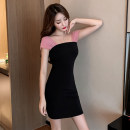 Dress Summer 2021 black S,M,L Short skirt singleton  Sleeveless commute V-neck Elastic waist Solid color Socket One pace skirt other camisole 18-24 years old Type X Korean version Open back, stitching 71% (inclusive) - 80% (inclusive) other other