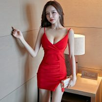 Dress Spring 2021 Red, black S,M,L Short skirt singleton  Sleeveless commute V-neck High waist Solid color Socket One pace skirt camisole 18-24 years old Type X Korean version backless 9236# 31% (inclusive) - 50% (inclusive) other