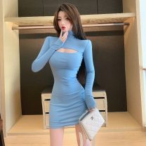 Dress Autumn 2020 Lake blue Average size Short skirt singleton  Long sleeves commute High collar Elastic waist Solid color Socket One pace skirt routine 18-24 years old T-type Korean version Hollowing out 51% (inclusive) - 70% (inclusive) cotton