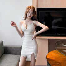 Dress Summer 2020 White, black S,M,L Short skirt singleton  Sleeveless commute V-neck High waist Solid color Socket One pace skirt camisole 18-24 years old Type H Korean version Lace, zipper, stitching 71% (inclusive) - 80% (inclusive) Lace other