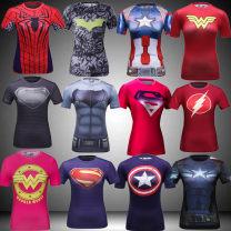 Sports T-shirt Codyludin M. L, XL, XXL (adult) Short sleeve female Crew neck j2015071422 Superman 1, Superman 2, Superman 3, Captain America 1, Captain America 2, Captain America 3, Batman 1, Batman 2, spider man, flash man, wonder woman 1, wonder woman 2 Tight fitting Summer of 2019 Sports life