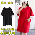 Women's large Spring 2021, summer 2021 Black, red T-shirt singleton  commute easy thin Conjoined Short sleeve Solid color Korean version Hood Medium length cotton Three dimensional cutting Petal sleeve Other / other 30-34 years old pocket Medium length Irregular skirt