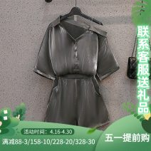 Women's large Summer 2021 6265 grey top 6265 black top grey suit black suit Other oversize styles Two piece set commute easy thin Cardigan Short sleeve Solid color Korean version Polo collar routine Three dimensional cutting other J-6265+6266 Murexi 25-29 years old Other 100%