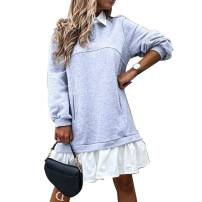Dress Autumn 2020 H-gray-f14, a-green-n55, f-black-d66 S,M,L,XL Middle-skirt singleton  Long sleeves Solid color Irregular skirt Other / other K70525