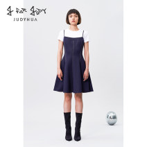 Dress Summer of 2019 Navy Blue S M L Short skirt singleton  Sleeveless camisole 18-24 years old J For JUDY J02T30DR002 More than 95% polyester fiber Polyester 95% polyurethane elastic fiber (spandex) 5%