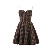 Dress Spring 2020 Black check S,M,L Short skirt singleton  Sweet High waist lattice zipper other Countryside