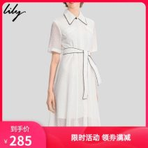 Dress Summer 2020 601 white Mid length dress singleton  Short sleeve commute Polo collar High waist Solid color A-line skirt 25-29 years old Type A Lily / Lily Ol style 71% (inclusive) - 80% (inclusive) other cotton