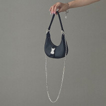 Bag Inclined shoulder bag Nylon  other brand new Small hard zipper no Solid color Double root One shoulder portable messenger nothing youth Crescent shape