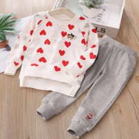 suit Yeah 90cm,100cm,110cm,120cm,130cm female spring and autumn leisure time Long sleeve + pants 2 pieces routine No model Socket nothing Cartoon animation cotton children Expression of love Class B 2 years old, 3 years old, 4 years old, 5 years old, 6 years old, 7 years old Chinese Mainland