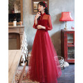 Dress / evening wear Weddings, adulthood parties, company annual meetings, daily appointments XS S M L XL XXL tailor made without return claret Korean version longuette middle-waisted Winter 2020 Fall to the ground stand collar zipper 18-25 years old YM20120 Embroidery Solid color Beautiful outline