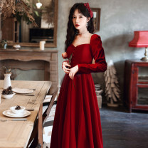 Dress / evening wear Weddings, adulthood parties, company annual meetings, daily appointments XS S M L XL XXL claret Korean version longuette middle-waisted Winter 2020 Fall to the ground One shoulder zipper 18-25 years old Long sleeves Embroidery Solid color Beautiful outline routine Other 100%