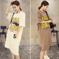 Dress Huishang Muyu M L XL XXL XXL large XXL other sizes Korean version Short sleeve Medium length summer Crew neck letter