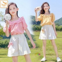 suit Other / other Yellow Plaid suit for pendant, Pink Plaid suit for pendant, pink plaid coat, yellow plaid coat, white shorts female summer Korean version Short sleeve + pants 2 pieces routine No model Socket nothing lattice cotton children birthday other Chinese Mainland Zhejiang Province