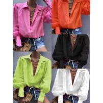 shirt Orange, white, pink, fluorescent green, black S,M,L,XL Autumn of 2019 other 51% (inclusive) - 70% (inclusive) Long sleeves commute Medium length tailored collar Single row multi button puff sleeve Solid color 18-24 years old Straight cylinder Other / other lady
