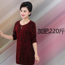 Middle aged and old women's wear Autumn of 2019 Red, gold XL [recommended 100-125 kg], 2XL [recommended 125-145 kg], 3XL [recommended 145-165 kg], 4XL [recommended 165-185 kg], 5XL [recommended 185-220 kg] commute T-shirt easy singleton  Solid color 40-49 years old Socket moderate Crew neck routine