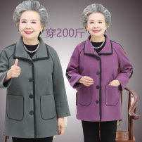 Middle aged and old women's wear Winter of 2019, autumn of 2019 commute woolen coat easy singleton  Solid color 40-49 years old Cardigan moderate square neck Medium length routine Button 81% (inclusive) - 90% (inclusive) Single breasted Korean version