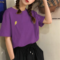T-shirt Pink purple black blue white M L XL XXL Summer 2020 Short sleeve Crew neck easy Medium length routine commute polyester fiber 86% (inclusive) -95% (inclusive) 18-24 years old Korean version youth Sea of life 5715-5 Polyester 95% polyurethane elastic fiber (spandex) 5%