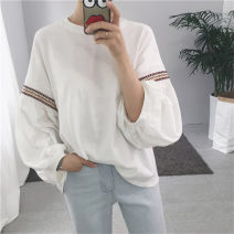 T-shirt white M L XL Autumn of 2018 Long sleeves Crew neck easy Regular bishop sleeve commute polyester fiber 86% (inclusive) -95% (inclusive) 18-24 years old Korean version youth Thick horizontal stripe solid color mosaic Sea of life 2319-1 Polyester 95% polyurethane elastic fiber (spandex) 5%