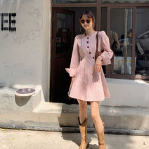 Dress Summer 2021 Pink dress S M L XL Short skirt singleton  Long sleeves commute Crew neck High waist Solid color Single breasted A-line skirt routine 18-24 years old Yueqi Button More than 95% polyester fiber Polyester 100%