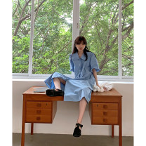 Dress Summer 2021 blue S, M longuette singleton  elbow sleeve commute square neck Loose waist Solid color Single breasted other puff sleeve 18-24 years old Type H Korean version other cotton