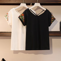 Women's large Summer 2021 Black and white Suggestion: 2XL 160 ~ 185 kg, 3XL 185 ~ 205 kg, 4XL 205 ~ 230 kg, 5XL 230 ~ 300 kg, 6xl T-shirt singleton  commute easy moderate Socket Short sleeve Solid flower Korean version Crew neck routine cotton Three dimensional cutting routine Essence of clothing