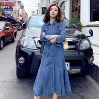 Dress Spring 2021 wathet S,L,M,2XL,XL longuette singleton  Long sleeves commute Polo collar High waist Solid color Single breasted Ruffle Skirt shirt sleeve Others 25-29 years old Type H Other / other Korean version Folds, pockets, rags, buttons More than 95% Denim cotton