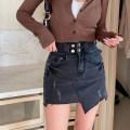 skirt Spring 2021 M,L,XL,2XL,3XL,4XL Picture color Short skirt commute High waist Denim skirt Solid color Type A Denim Pocket, tridimensional decoration, button, zipper Korean version