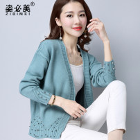 Wool knitwear Autumn of 2018 SMLXLXXLXXXL Purple grey camel white green blue Long sleeves singleton  Cardigan Regular routine commute easy V-neck raglan sleeve Solid color Korean version ZBM707 Beautiful posture Resin fixation for pleated rivet thread Other 100% Pure e-commerce (online only)