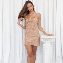Dress Summer 2021 khaki S,M,L Short skirt singleton  Sleeveless street One word collar High waist Animal pattern Socket One pace skirt other camisole 18-24 years old Type X instunning Backless, stitched, printed LS21015PF 81% (inclusive) - 90% (inclusive) other polyester fiber Europe and America