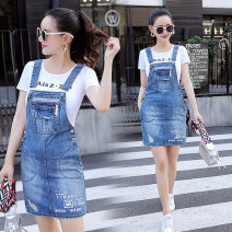 Dress Summer of 2019 Strap skirt T-shirt + skirt S M L XL 2XL Middle-skirt singleton  Short sleeve commute Crew neck High waist Solid color Socket A-line skirt other straps 18-24 years old Type A Caiweiting Korean version Pocket stitching strap button More than 95% Denim other Other 100%
