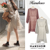 Dress Autumn of 2019 Apricot, red S,M,L,XL Short skirt singleton  Long sleeves commute Crew neck High waist Broken flowers Socket Big swing other 18-24 years old Type A Other / other Korean version Ruffles, lace, buttons 81% (inclusive) - 90% (inclusive) Chiffon polyester fiber