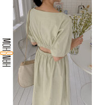 Dress Summer 2020 Rice white, Matcha green S,M,L,XL Mid length dress singleton  Short sleeve commute square neck High waist Solid color Socket A-line skirt routine 18-24 years old Type A Korean version